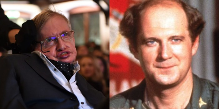 Stephen Hawking (left) and David Ogden Stiers both passed away in March. Source: Getty (left).