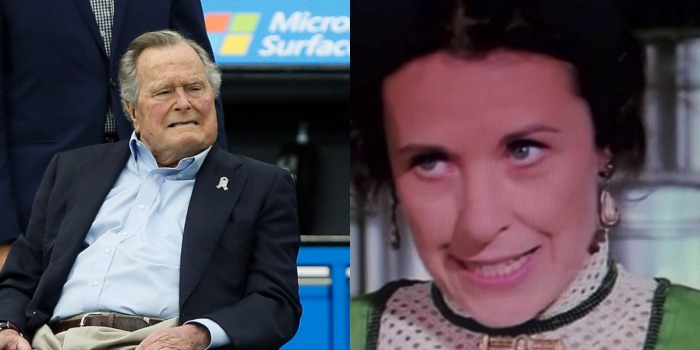 George H.W. Bush and Little House on the Prairie star Katherine MacGregor sadly died in November. Source: Getty (left) and YouTube/ LittleHouse (right).
