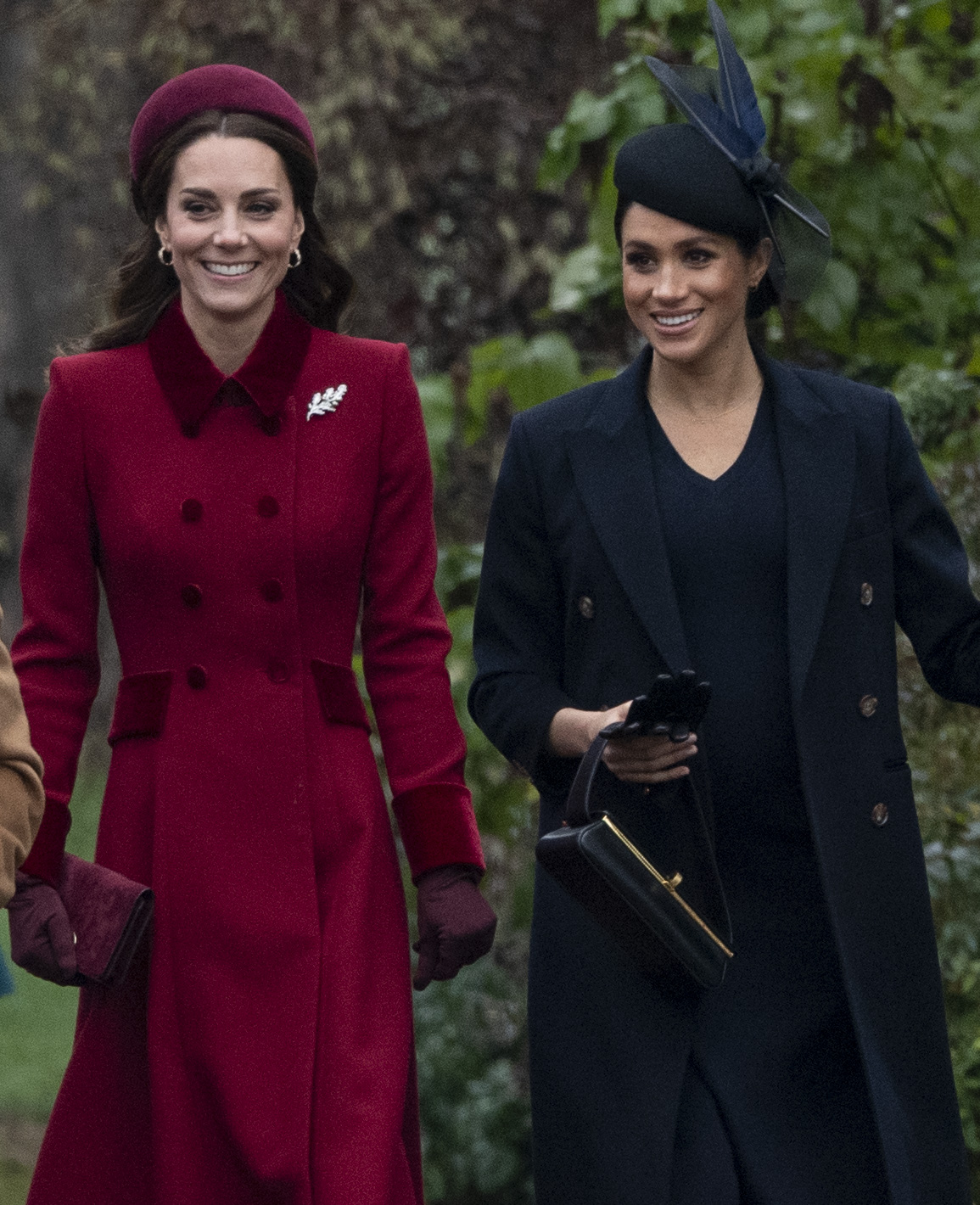 Catherine and Meghan walked side by side as the left the Church of St Mary Magdalene on the Sandringham estate. Source: Getty.