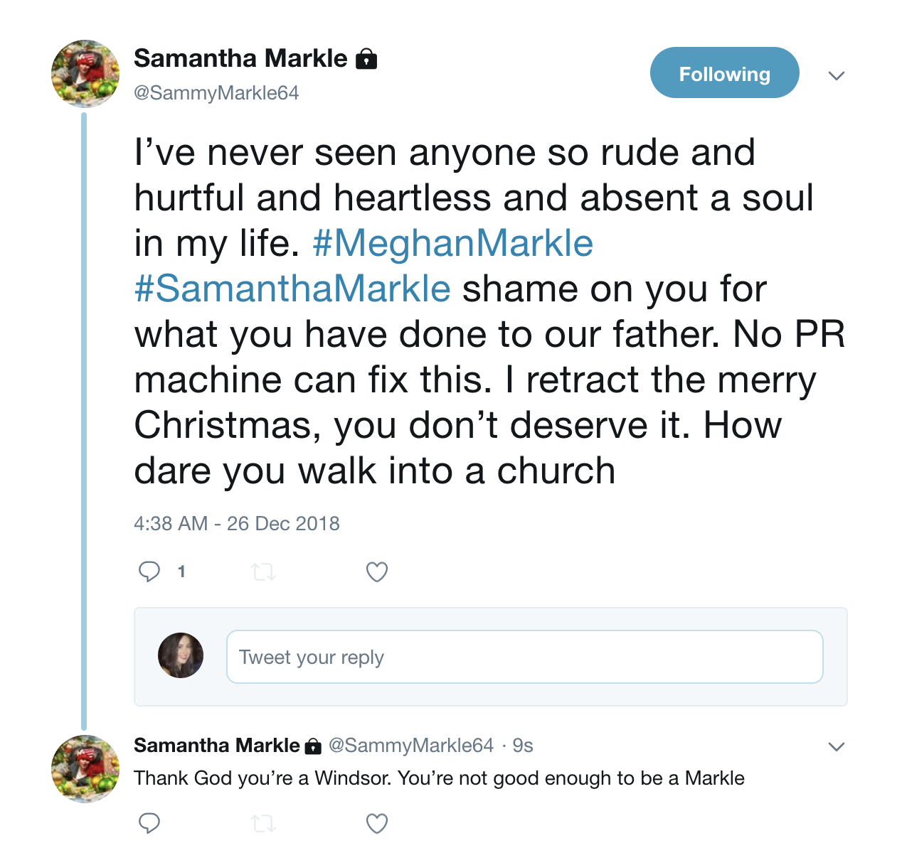 Samantha posted a series of tweets aimed at Meghan on Boxing Day. Source: Twitter/SammyMarkle64.