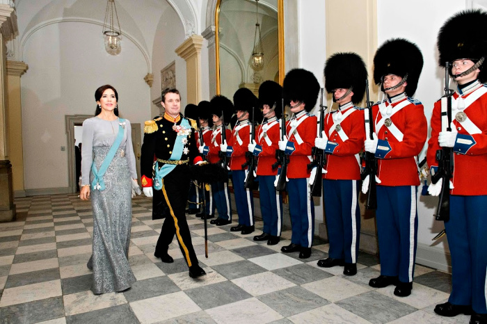 Princess Mary stepped out in a stunning silver gown on Thursday to welcome guests at Christiansborg castle in Copenhagen, during the New Year's reception for the diplomatic corps in Denmark.