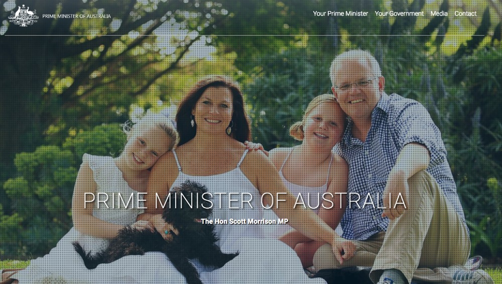 The image has since been replaced with the original photo on the Aussie PM's website. Source: www.pm.gov.au.