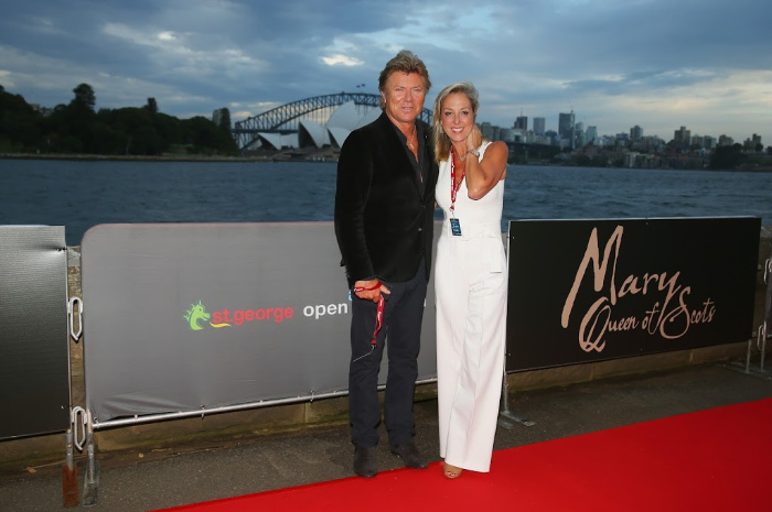 Richard Wilkins and girlfriend Virginia Burmeister step up for the premiere of movie Mary Queen Of Scots in Sydney.