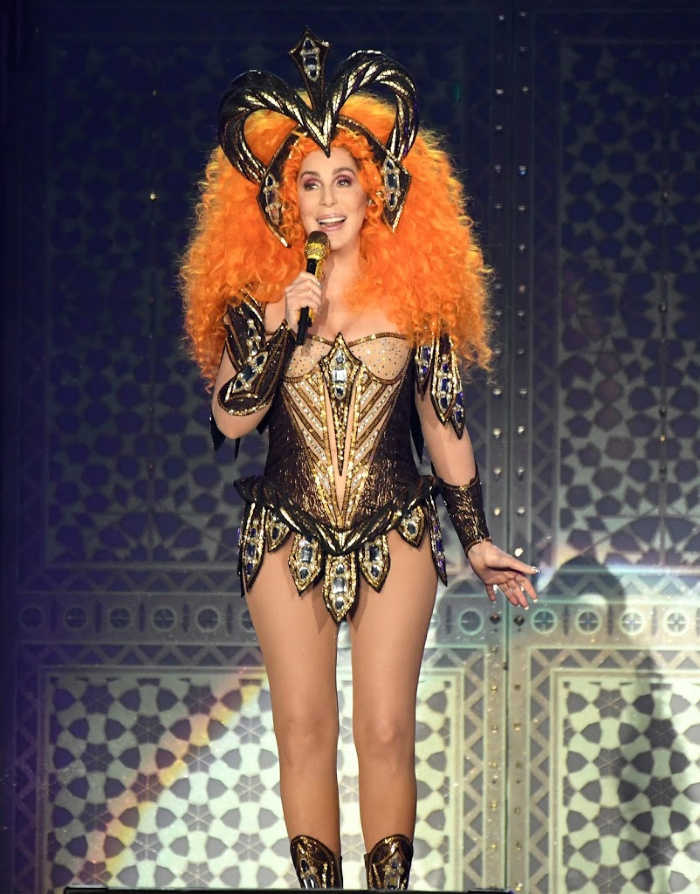 Cher sported a crazy orange wig and risque bodysuit for a concert in Florida.