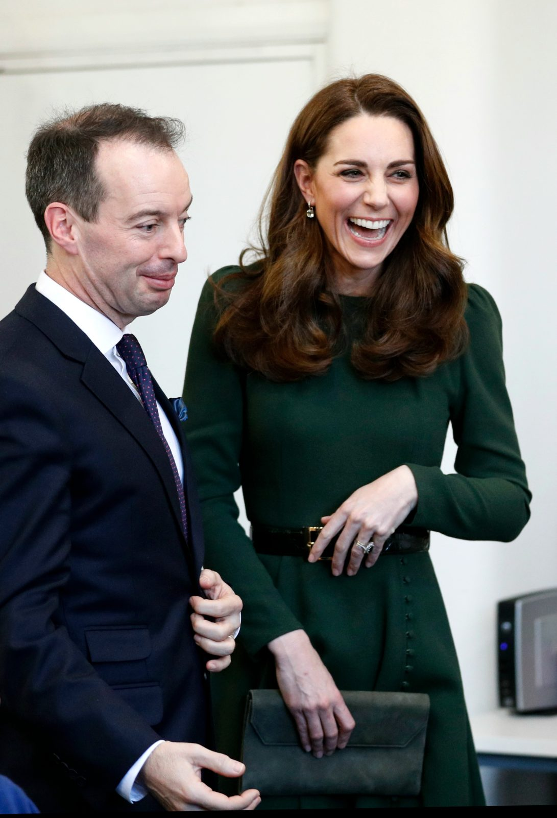 The duchess was left in fits of giggles inside. Source: Getty.