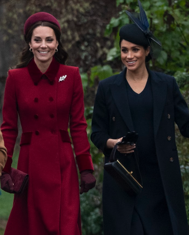 Catherine and Meghan put on a friendly display at church in Sandringham over Christmas. Source: Getty.