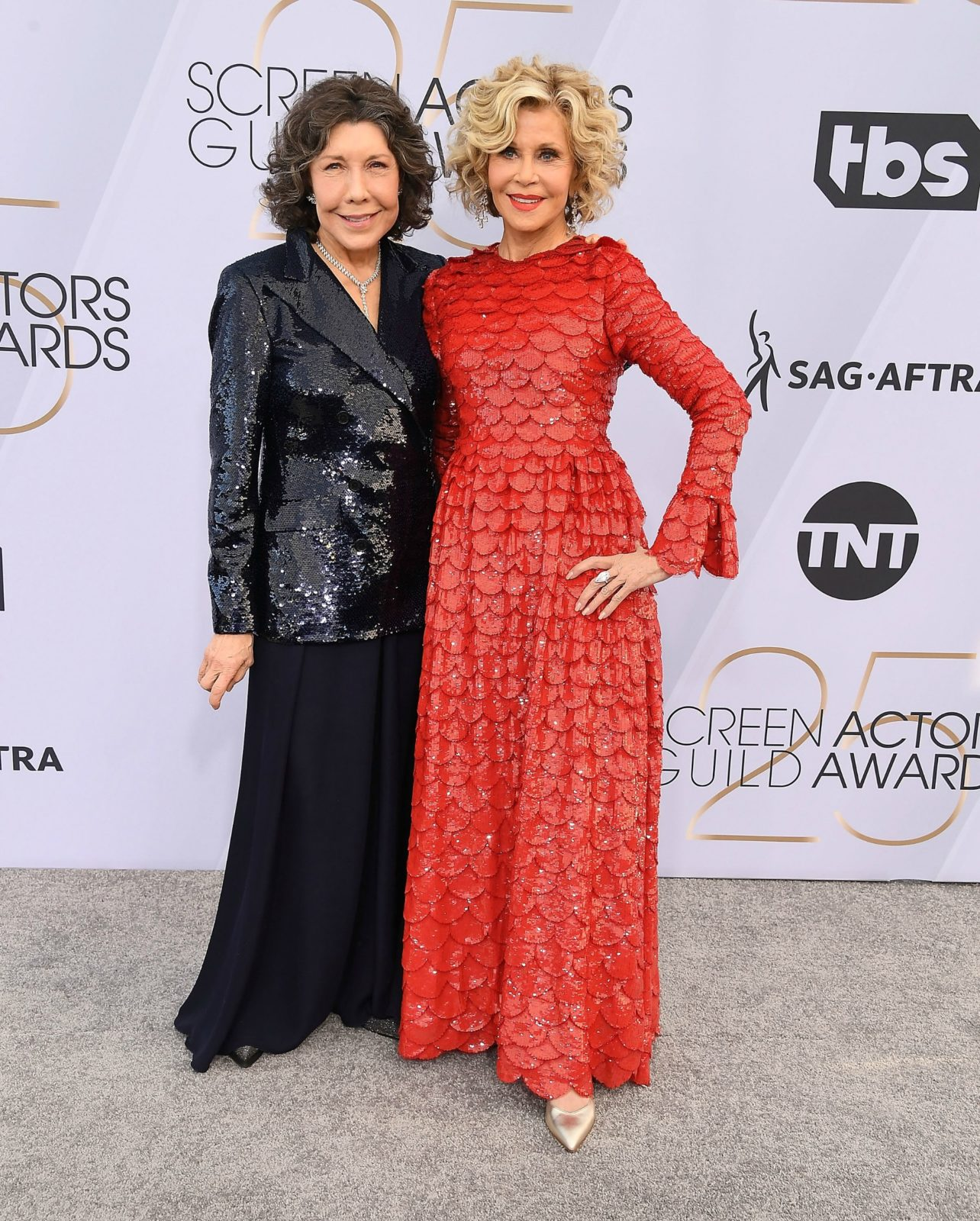 Jane Fonda kept her style elegant as she hit the red carpet alongside her co-star Lily Tomlin. Source: Getty