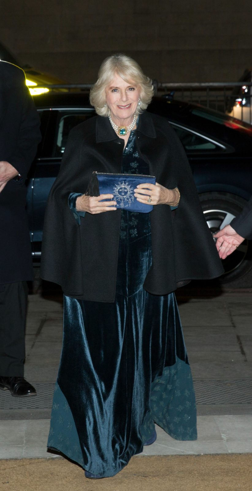 Camilla, Duchess of Cornwall, stepped out in a gorgeous blue velvet gown to attend a dinner for the English & Welsh wine industry in London on Thursday night. Source: Getty