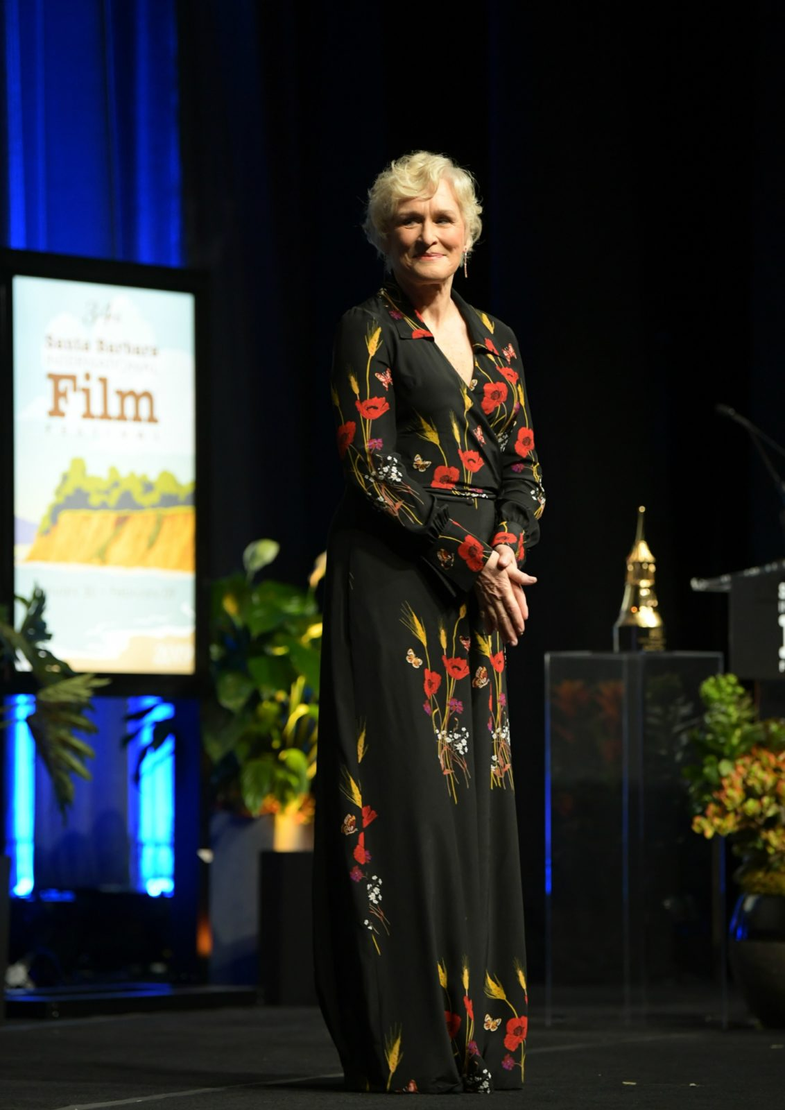 Glenn Close wowed in a gorgeous floral dress on Sunday. Source: Getty