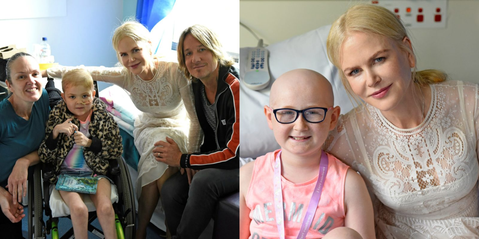 Nicole Kidman and Keith Urban posed for photos with patient Lona and her mum, as well as patient Kayla.