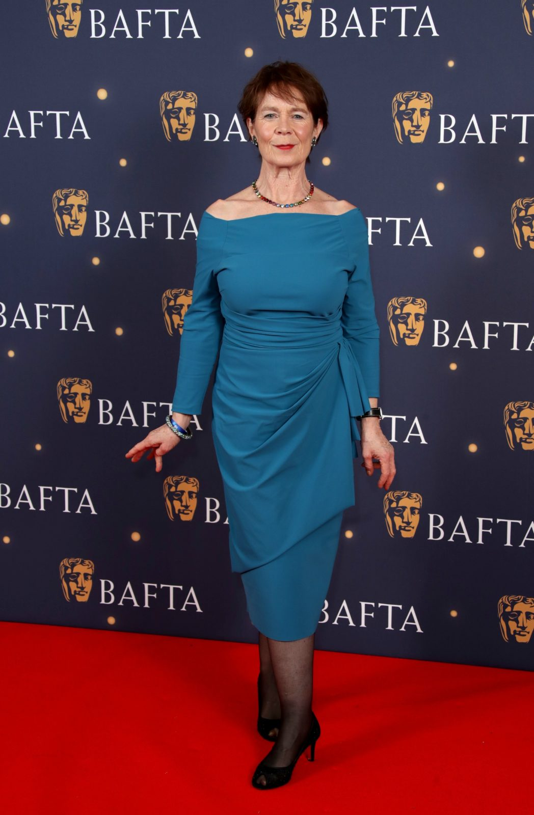Celia Imrie wowed in a figure-hugging blue midi dress. Source: Getty