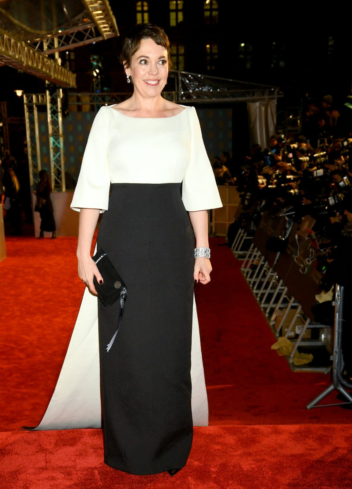 Olivia Colman looked stunning in a monochrome outfit. Source: Getty
