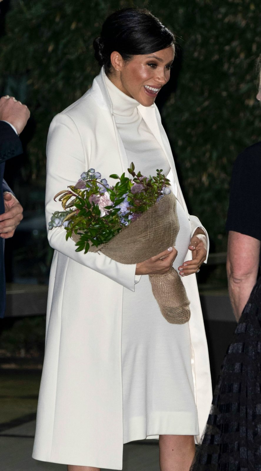 The Duchess of Sussex was presented with a bouquet of flowers. Source: Getty.