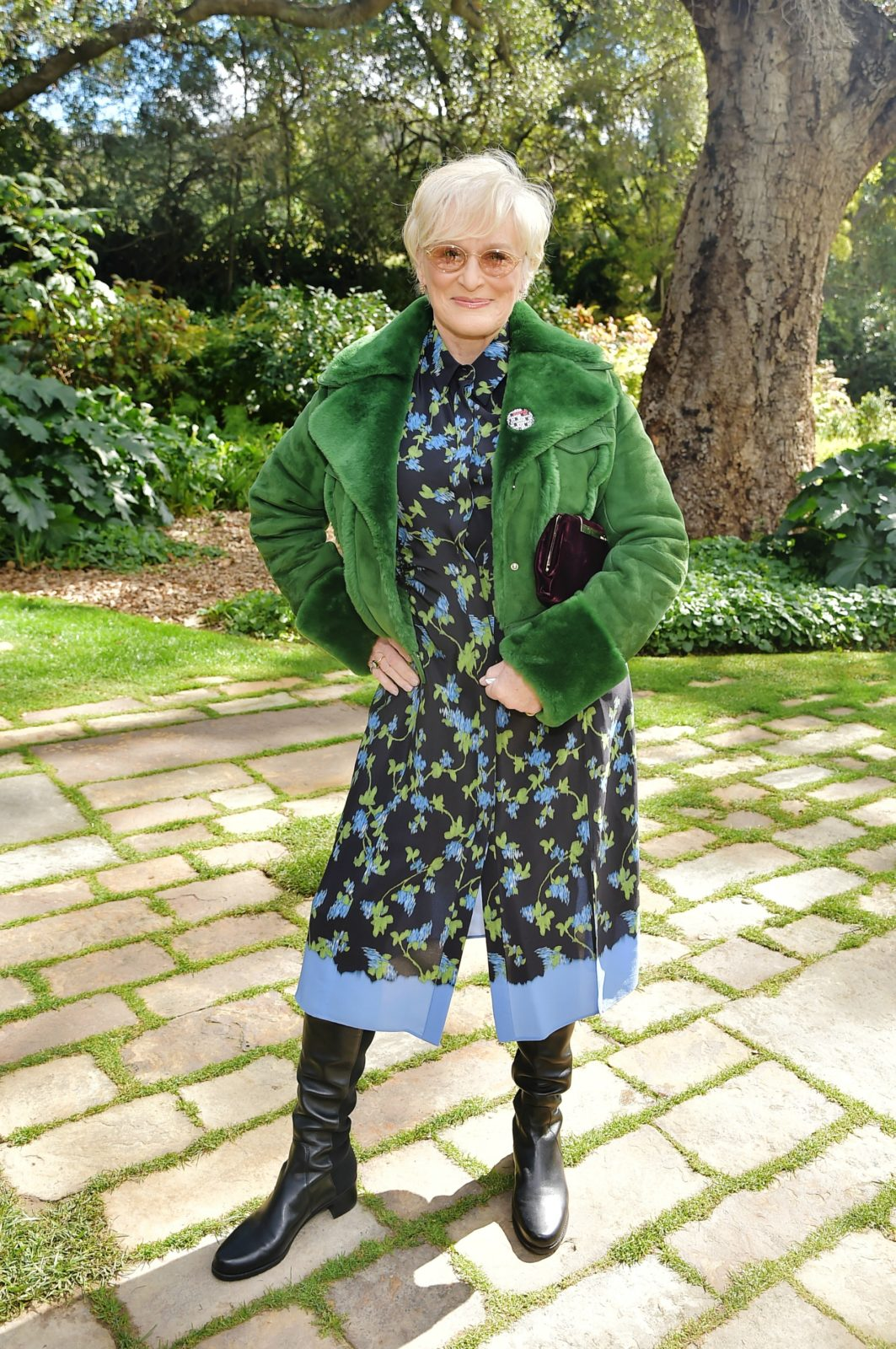 Glenn Close put on a stunning display in a vibrant green ensemble. Source: Getty