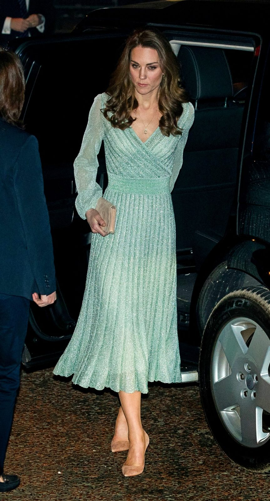 Catherine arrived at the party in a beautiful mint green dress and nude heels. Source: Getty