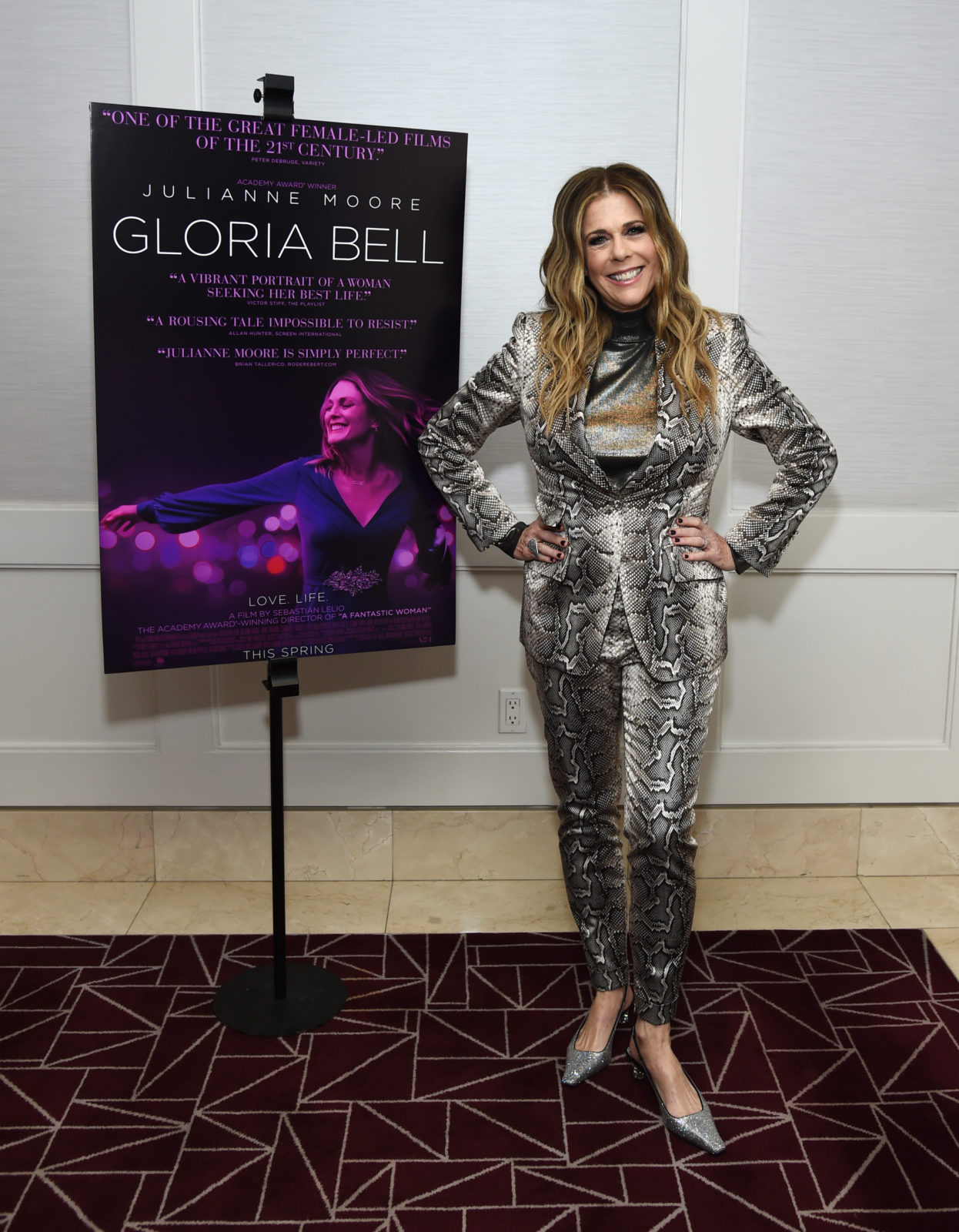 Rita Wilson looked a million dollars as she posed for the cameras at the movie premiere of Gloria Bell in California on Wednesday. Source: Getty