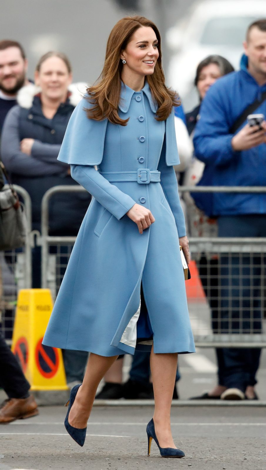 Duchess Catherine stepped out in a fashionable blue outfit for a day of royal engagements in Northern Ireland.