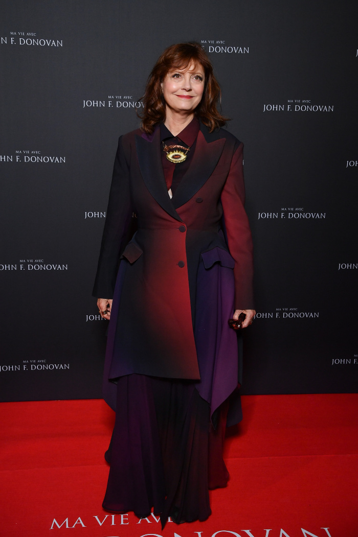 3700de4c21e5 Susan Sarandon looked gorgeous in a red and purple frock for The Death and  Life of John F. Donovan premiere. Source: Getty