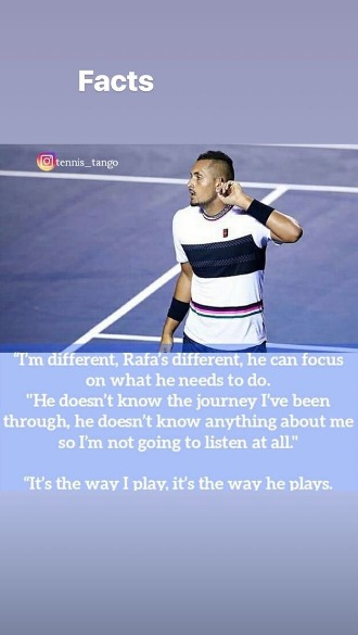 Kyrgios shared this message to his Instagram page.