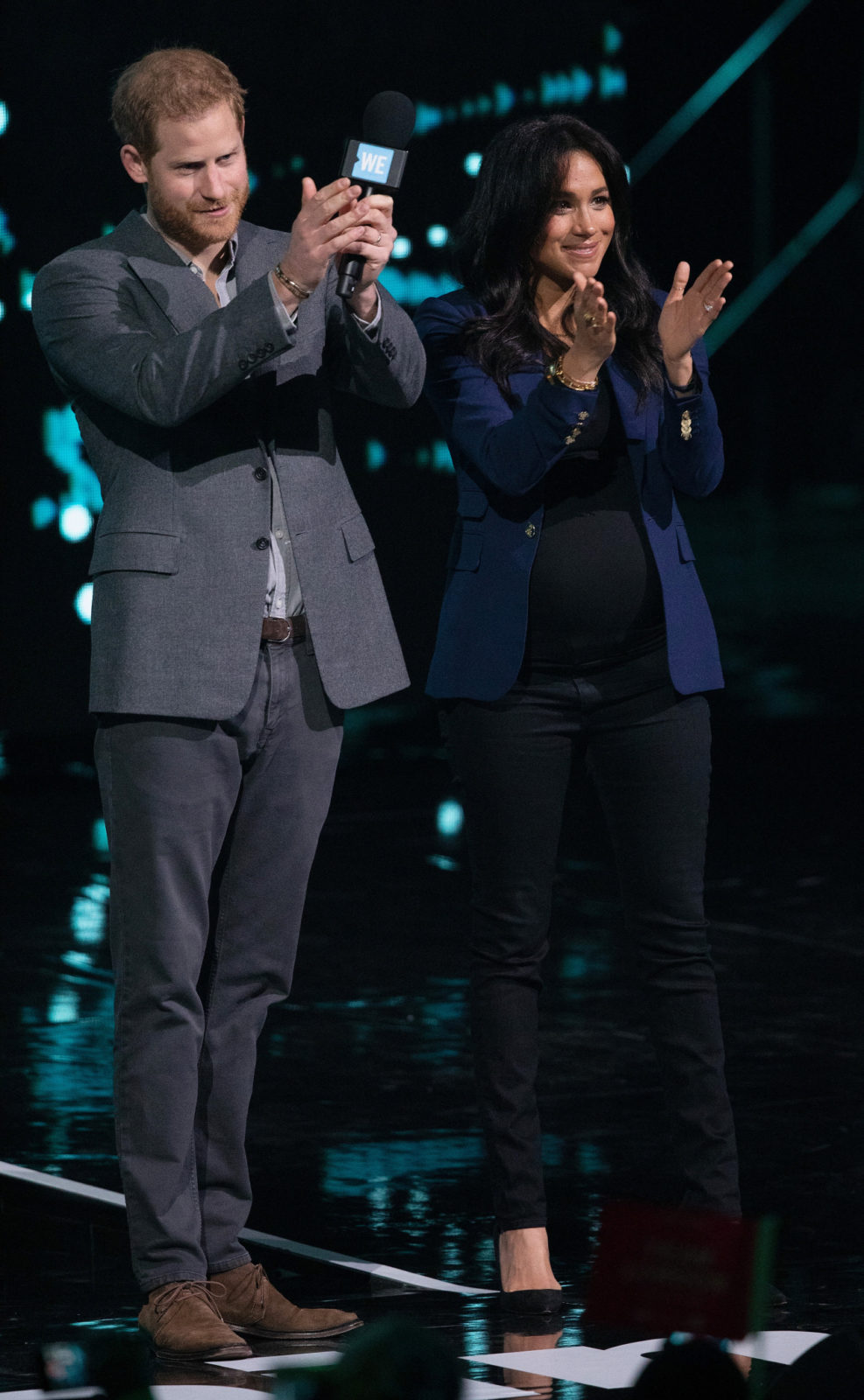 Prince Harry and Meghan on stage at WE Day in London on Wednesday. Source: Getty