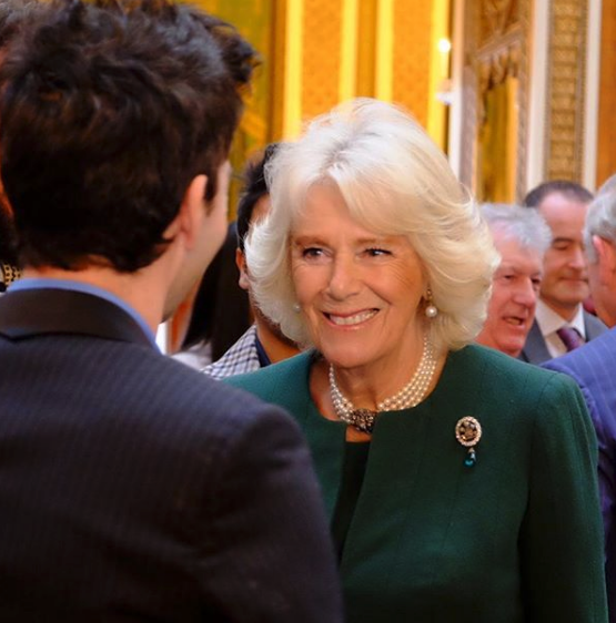 Camilla wore the antique emerald and diamond brooch for an event at Buckingham Palace on Tuesday. Source: Getty