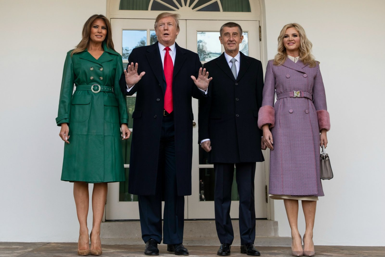Melania Trump looked stunning in a green leather coat as she met with Czech Republic's Prime Minister Andrej Babi and his wife Monika Babiová alongside husband Donald Trump. Source: Getty