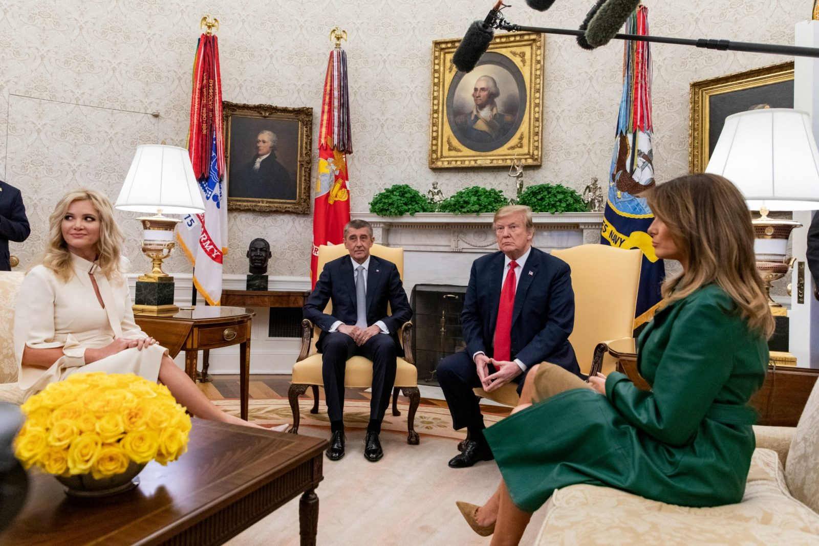 President Donald Trump and First Lady Melania Trump meet with the Prime Minister of the Czech Republic Andrej Babi and his wife Monika Babiová in the Oval Office at the White House. Source: Getty