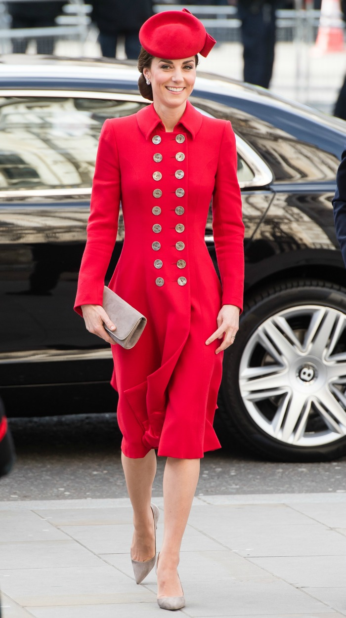 The Duchess of Cambridge looked stunning in red for a Commonwealth Day service on Monday.