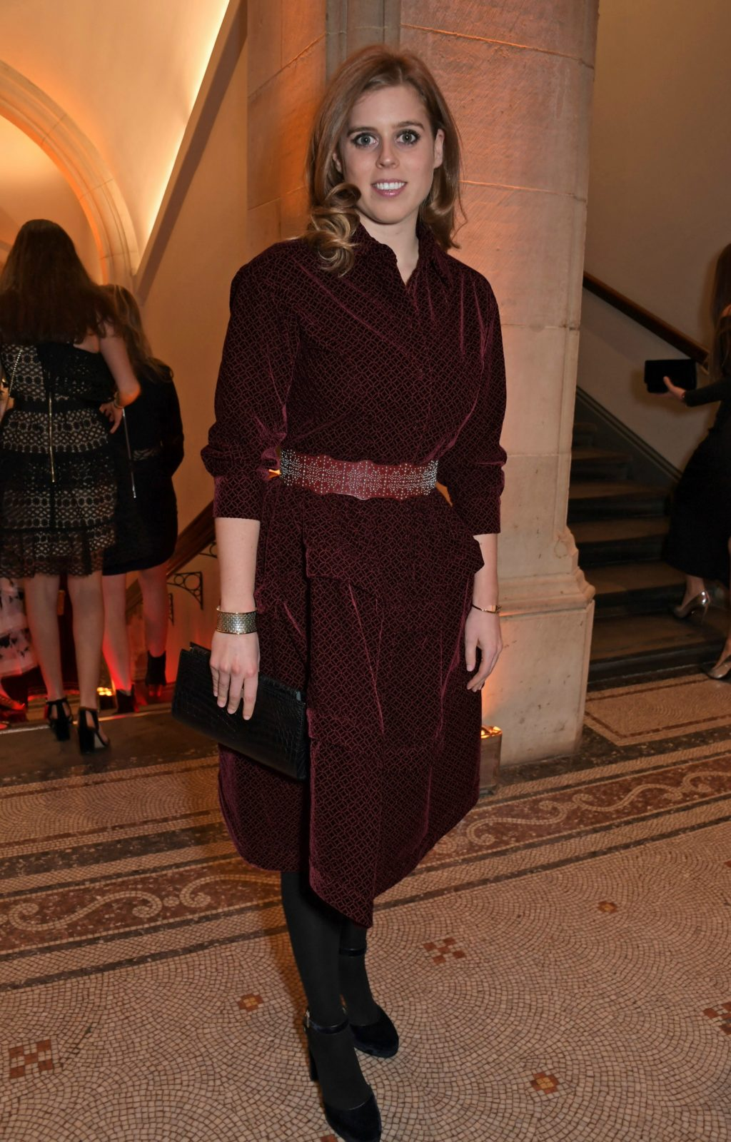 Princess Beatrice looked beautiful in a velvet red dress. Source: Getty.