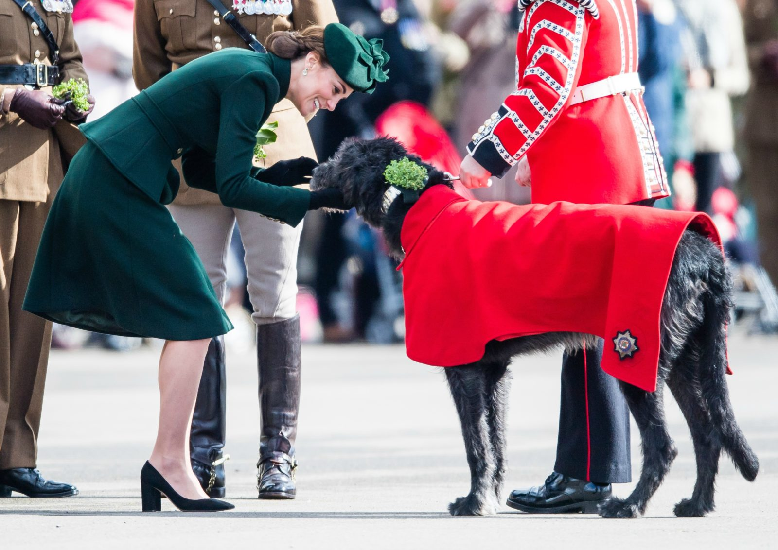 Catherine looked in her element as she petted the adorable dog. Source: Getty.