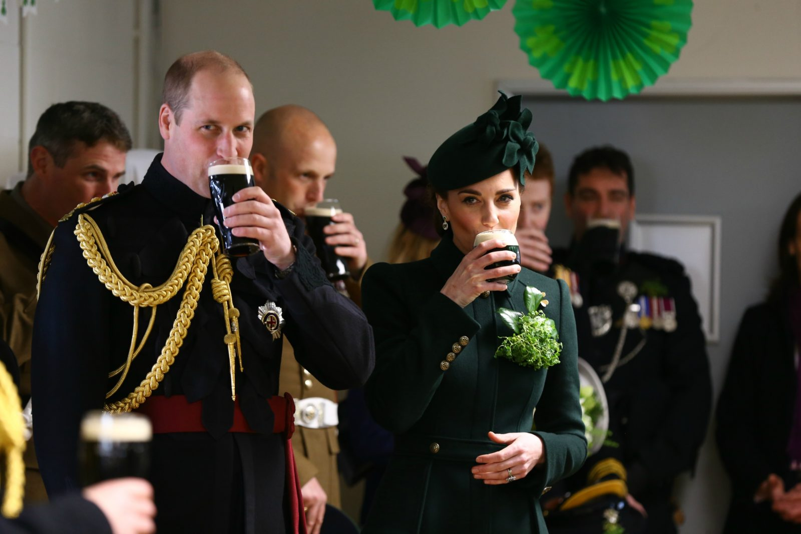 The pair indulged in a sip of Guinness. Source: Getty.