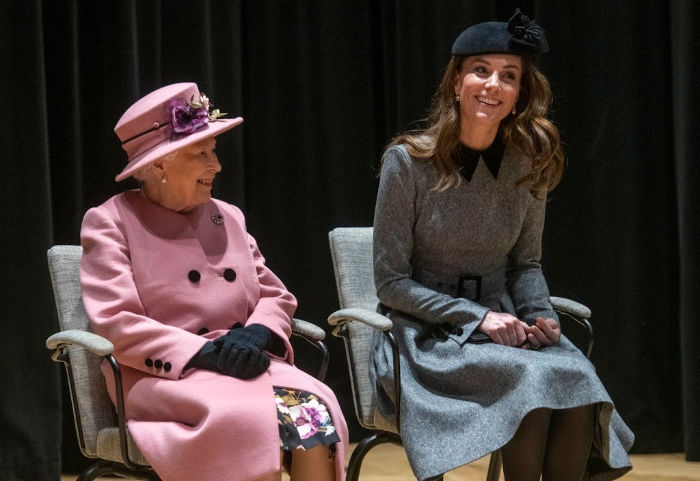 Catherine giggles with the Queen as pair enjoy first ever solo engagement