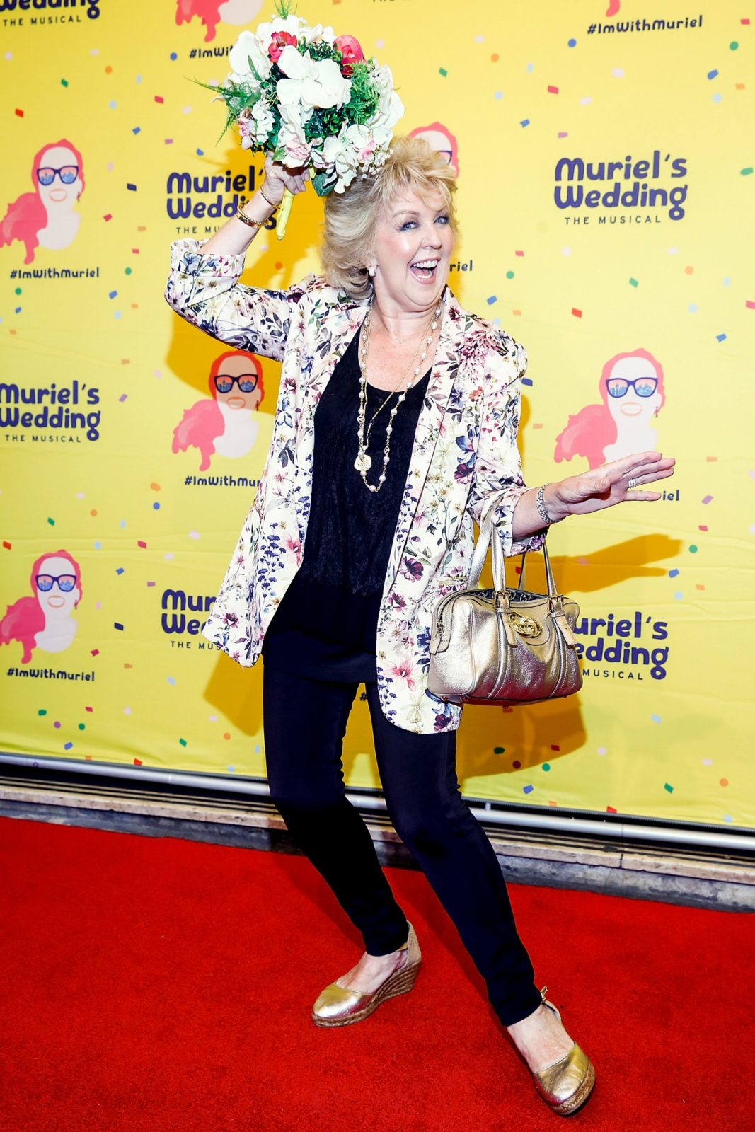 Patti Newton had some fun on the red carpet when she attended Muriel's Wedding The Musical at Her Majesty's Theatre.