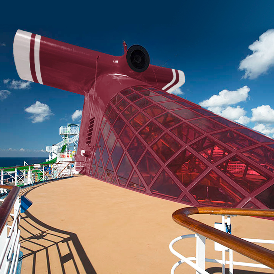 Carnival's signatures red funnel with switch over to maroon. Source: Carnival Cruise Line