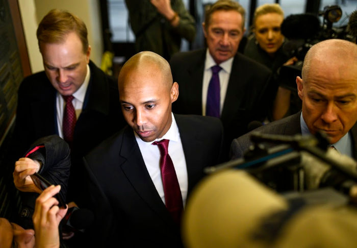 Noor pictured arriving at court. Source: Getty.