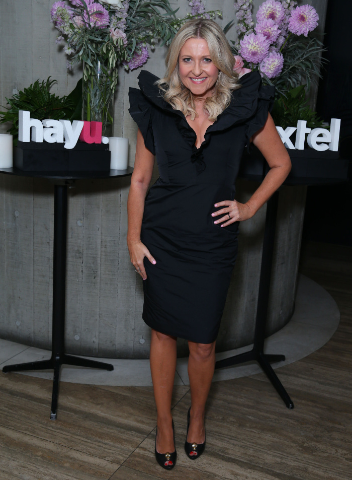 Angela Bishop stepped out in gorgeous black dress for the he hayu and Foxtel The Real Housewives of Beverly Hills party.