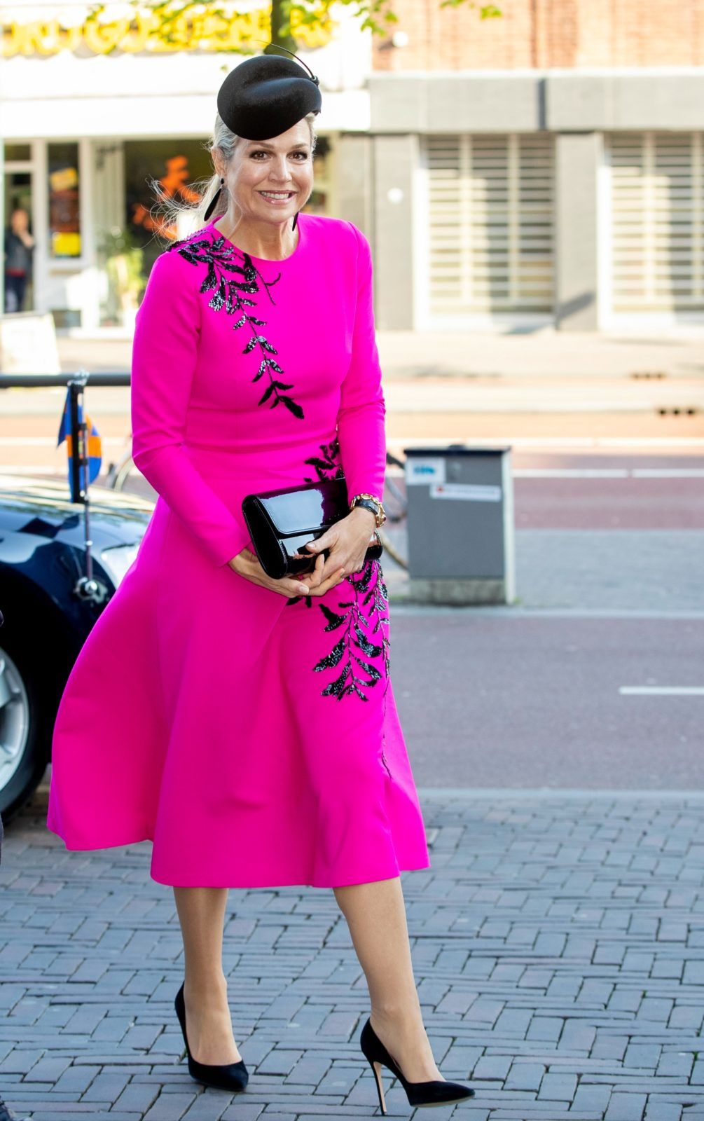 Queen Maxima was all smiles as stepped out in a colourful dress for an engagement in Utrecht on Thursday. Source: Getty