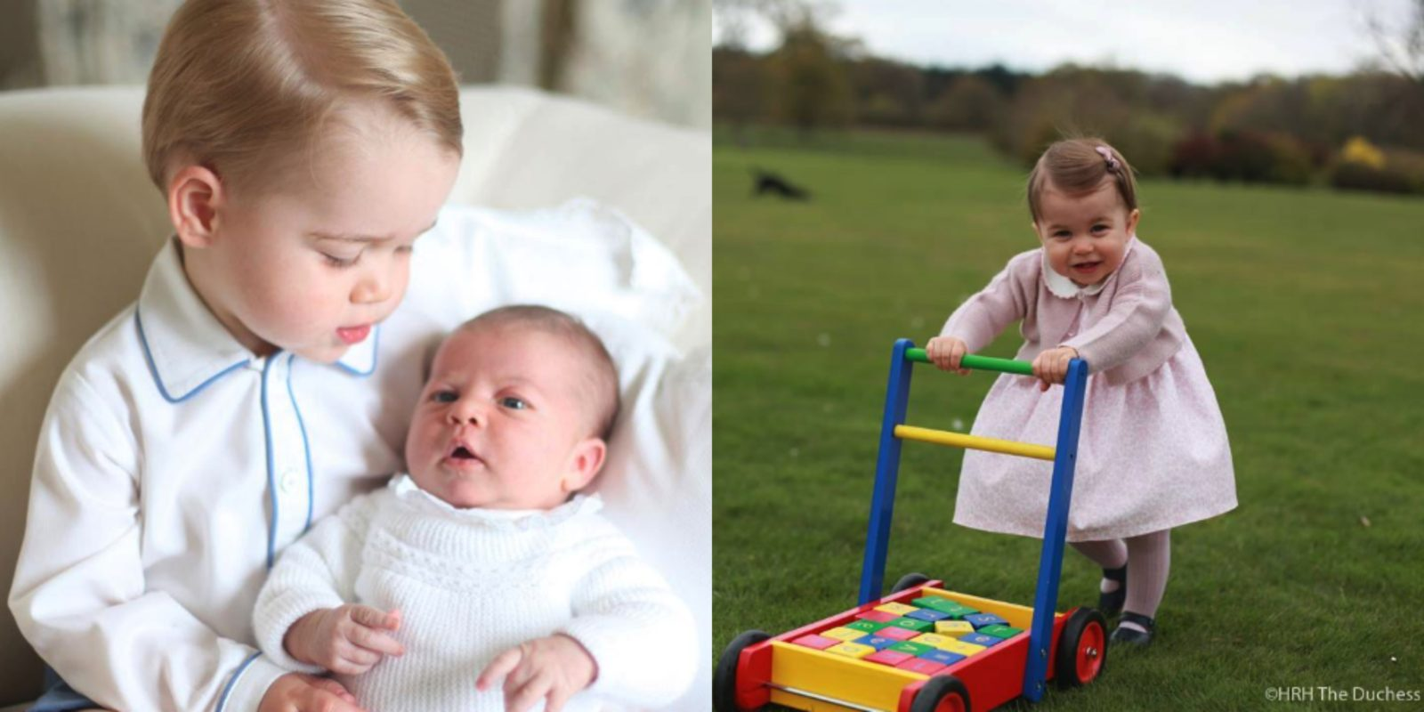 Princess Charlotte as a baby with her brother George, and at one year old. Source: Instagram/Kensington Royal.
