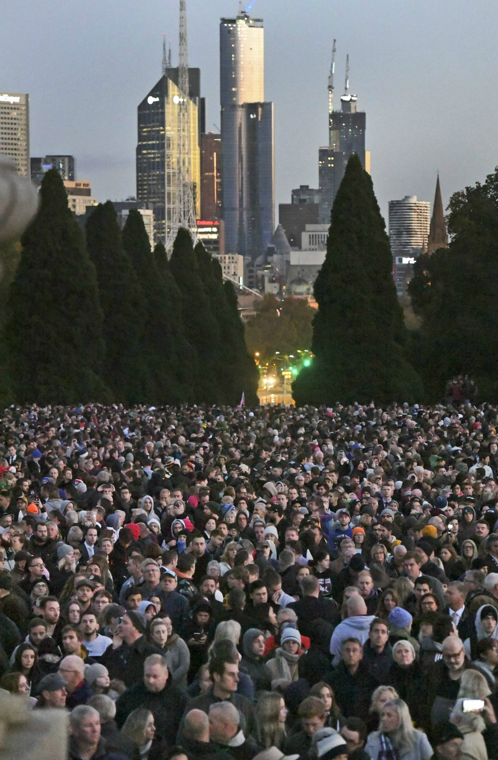 Thousands gathered in Melbourne for the service. Source: Getty.