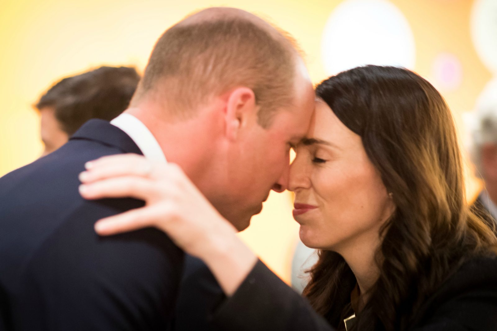 Prince William greeted Jacinda Ardern with a traditional Maori greeting. Source: Getty.