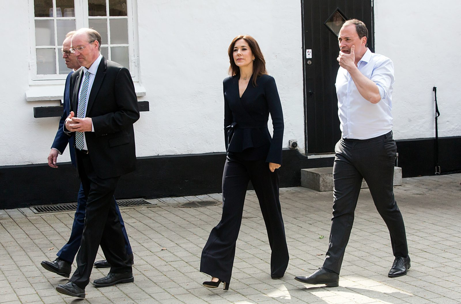 Princess Mary looked stunning in the flared trousers. Source: Getty.