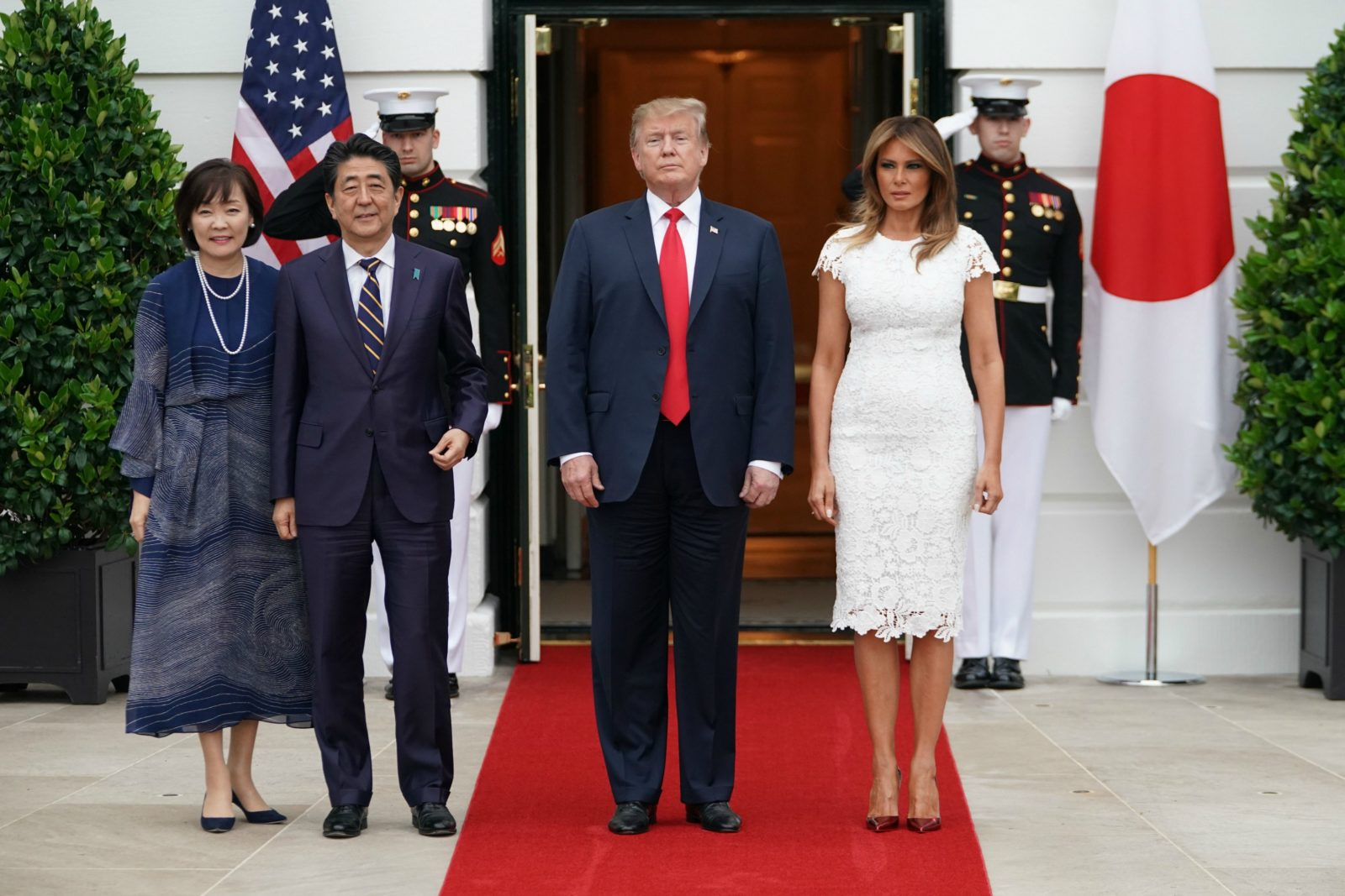 Melania Trump stole the show in white. Source: Getty.