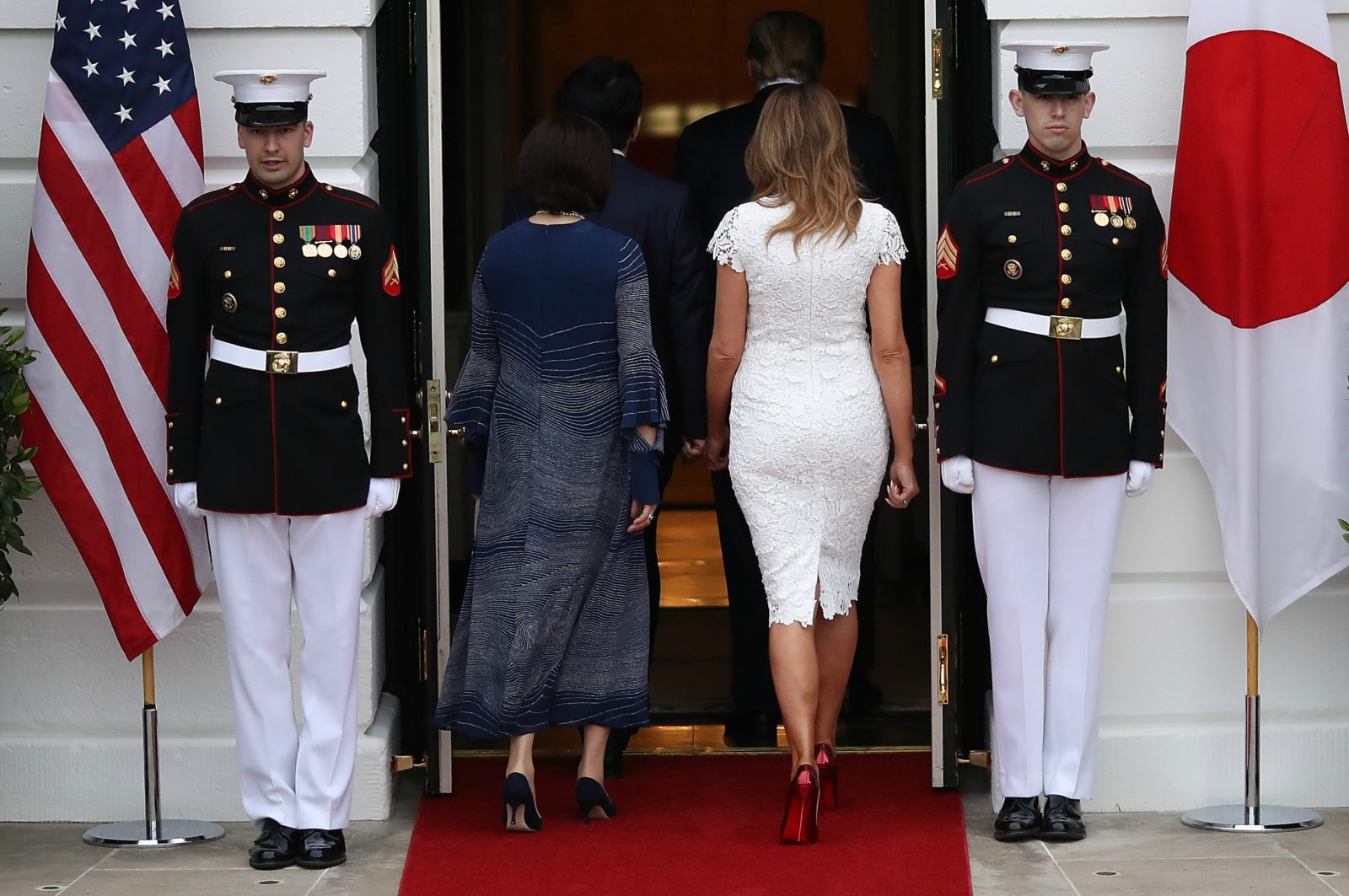 Melania Trump looked incredible in white. Source: Getty.