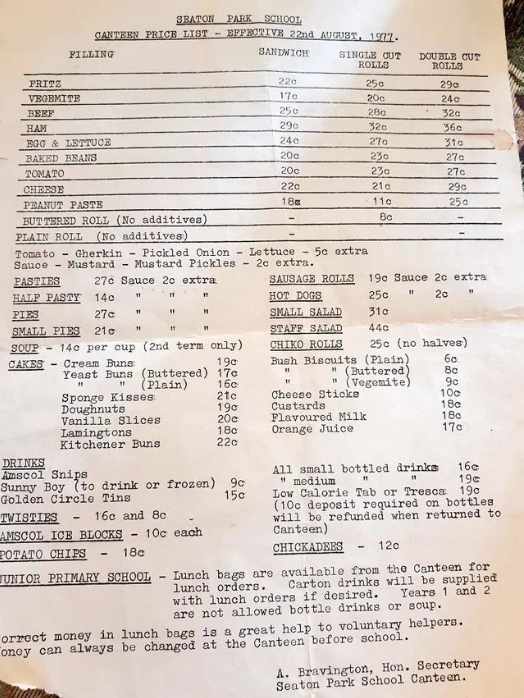The Seaton Park Primary School menu from 1977 was shared online.