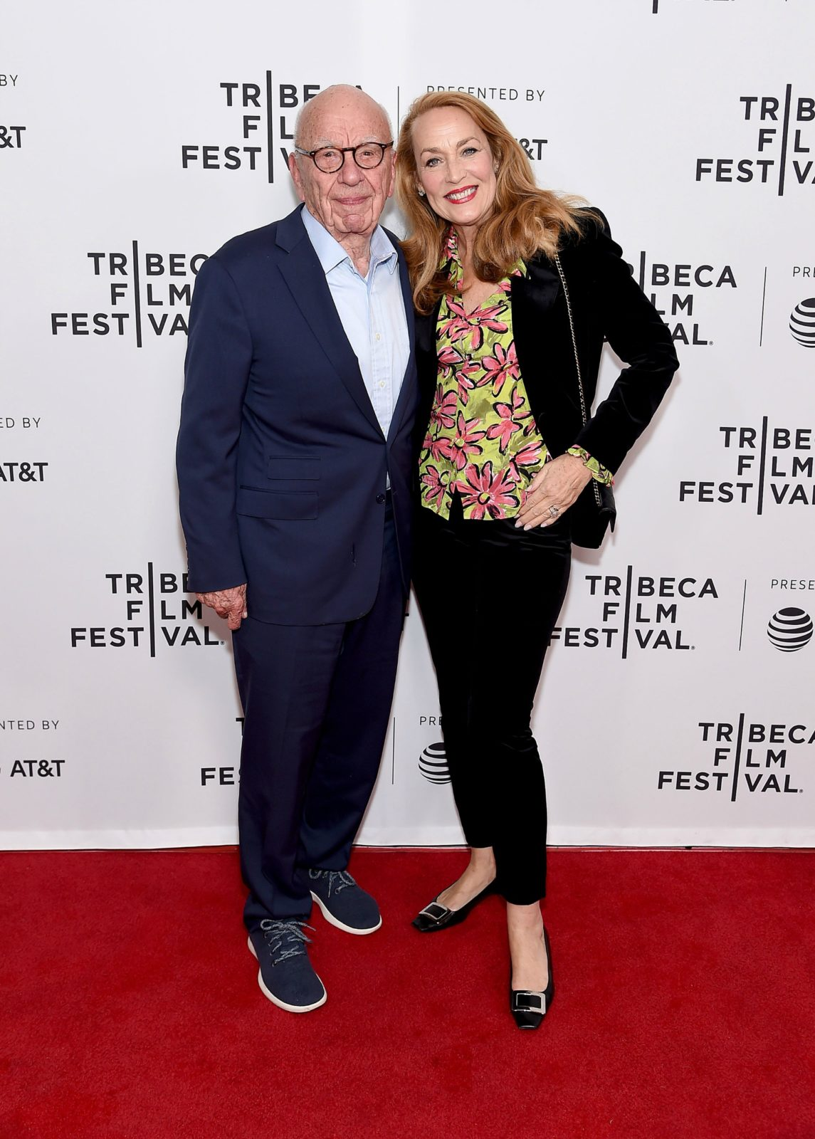 Jerry Hall and Rupert Murdoch were all smiles as they attended the star-studded screening of The Quiet One during Tribeca Film Festival inNew York City on Thursday. Source: Getty