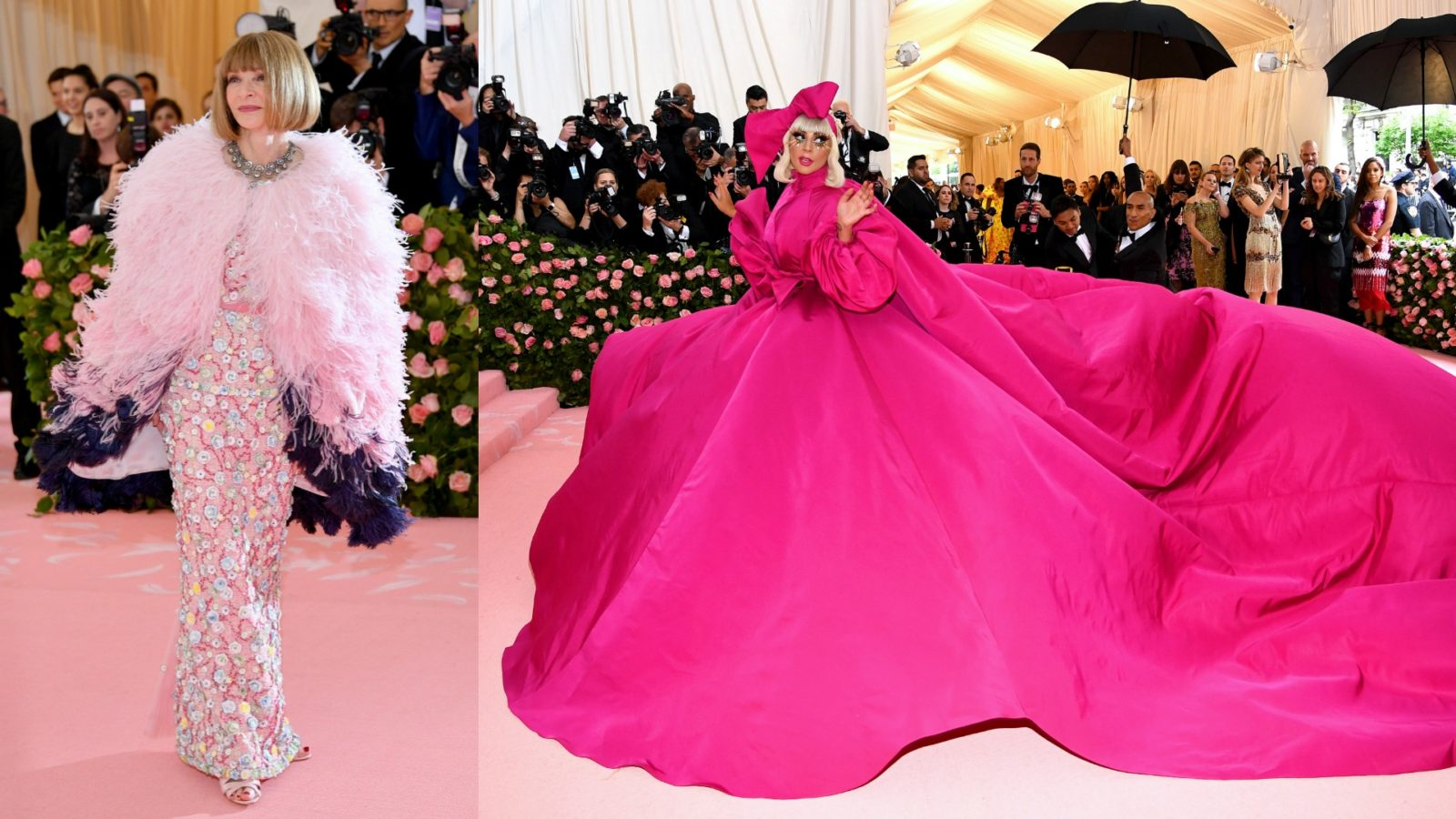Anna Wintour and Lady Gaga chose to wear pink for the Met Gala.