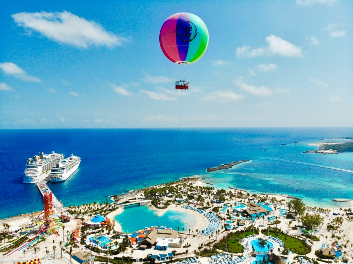 Take to the skies on Up, Up and Away, a helium balloon ride. Source: Royal Caribbean