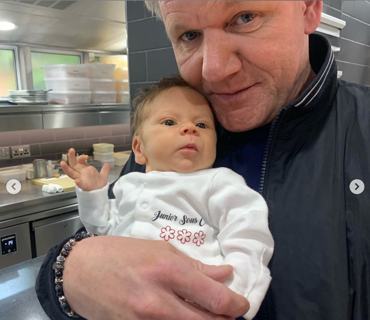 Gordon Ramsay cuddled up to his son Oscar in a photo taken in his restaurant.