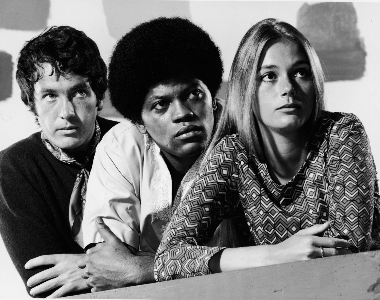 Michael Cole, Clarence Williams III and Peggy Lipton in 1968 on The Mod Squad. Source: Getty.