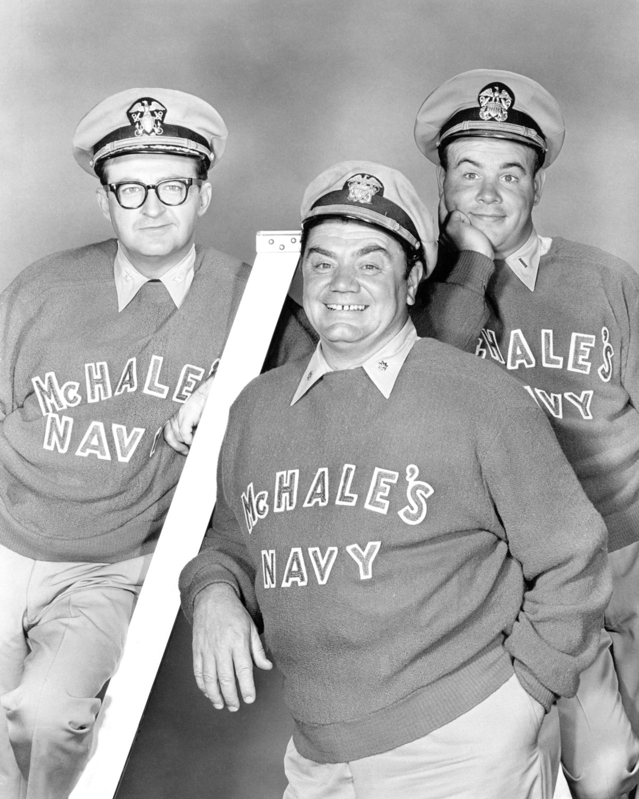 American actors (left to right) Joe Flynn, Ernest Borgnine and Tim Conway in 1964. Source: Getty.
